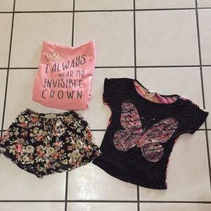 Bundle Pink Hoodie, Floral Shorts, Butterfly Shirt